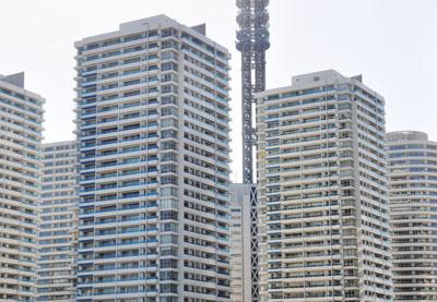 横浜みなとみらいのマンション群。とても高密度に建てられています。